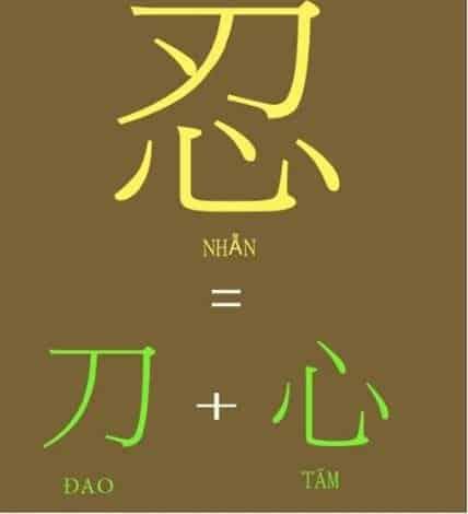 """Chữ 'Nhẫn' (忍) gồm có chữ 'Tâm' (心) ở dưới và chữ 'Đao' (刀) ở trên. Chữ """"đao"""" có hàm ý phải tôi luyện, mãi dũa mà thành."""