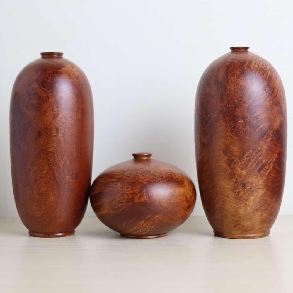 Combo bộ bình phú quý mini gỗ hương nu chun chớp