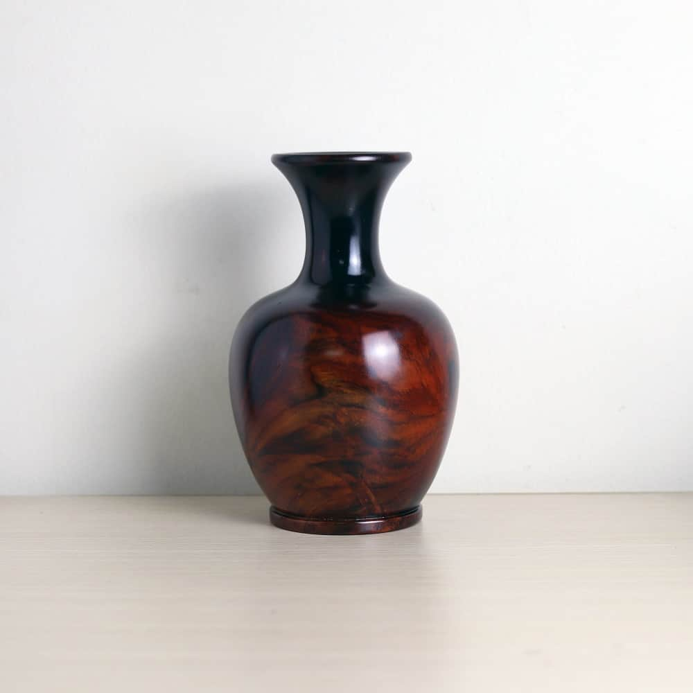 Bình phú quý gỗ trắc đỏ đen chưng phong thủy cao 19cm