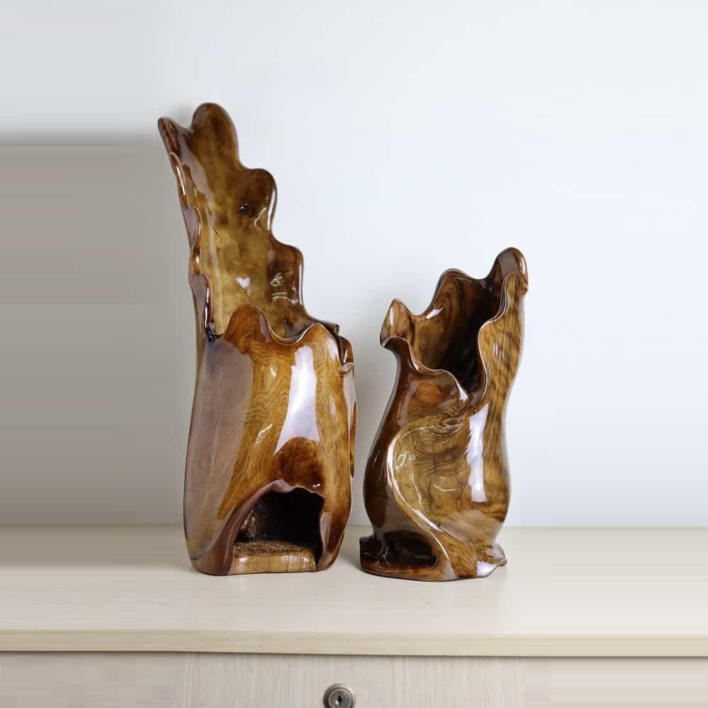 Cặp bình cắm lông công gỗ thủy tùng việt 31 & 46cm