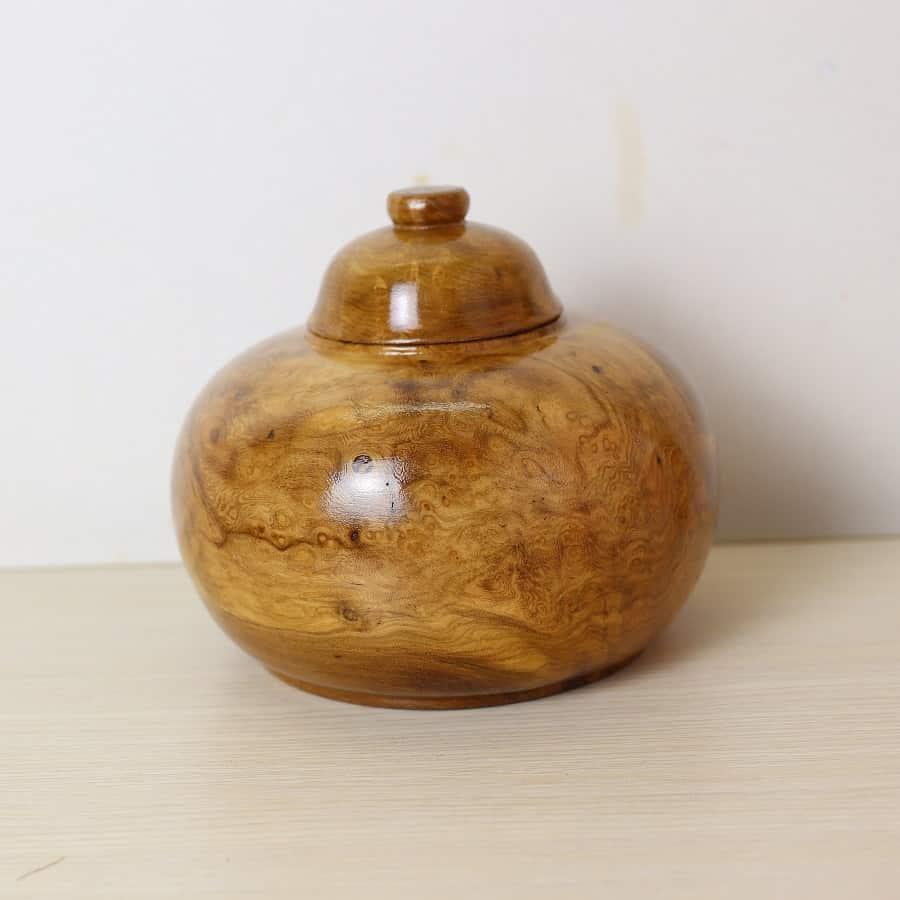 Bình phú quý gỗ măn có nu vân đẹp 16cm nắp rời